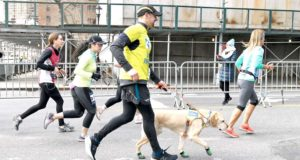 Blind man and his dog finish the NYC half marathon for the first time