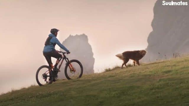 Mountain biking with his best friend