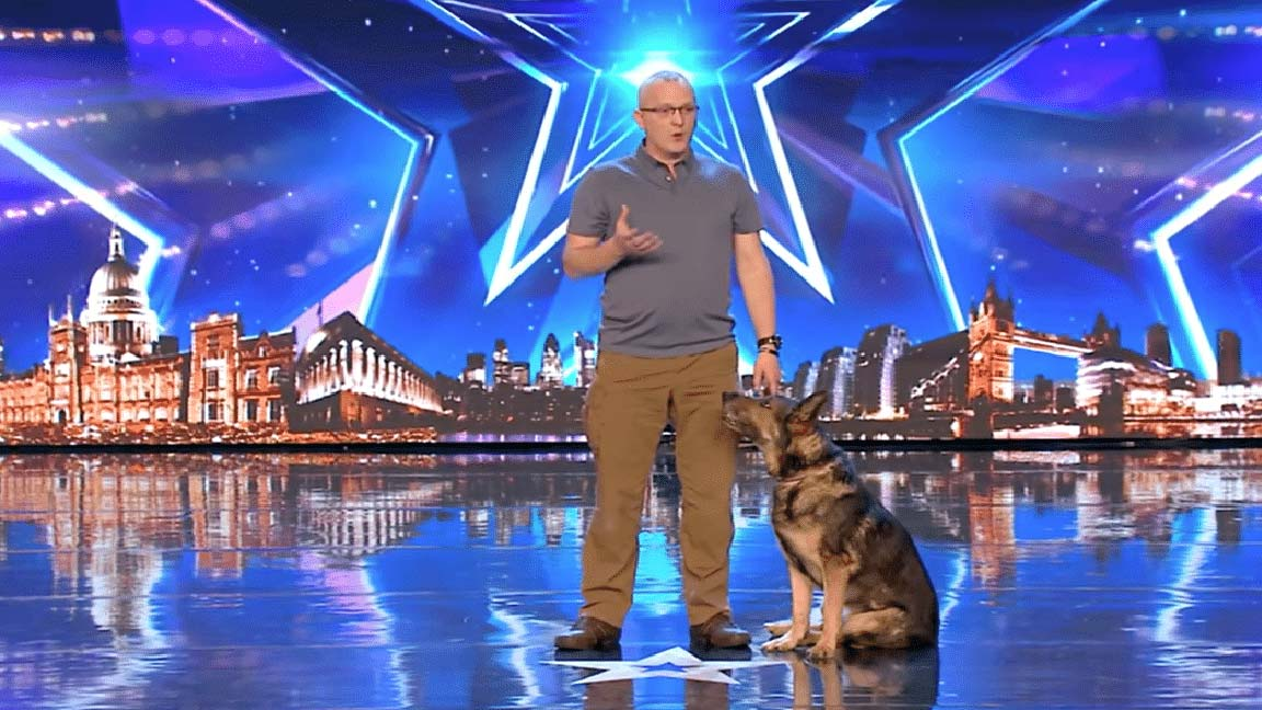 Police dog performs a magic act on TV